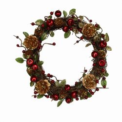 Red Cherry/Leaf Wreath w Gold Cones