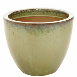 Olive Green Glazed Egg Pot