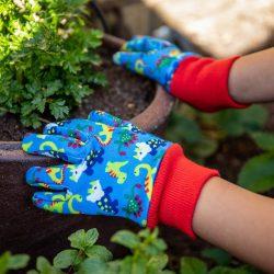 Blue Dinosaur Kids Gardening Gloves