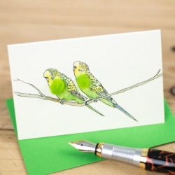 Mini Bird 29, Budgies – green